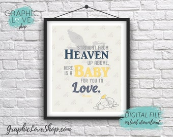 Digital 8x10 Gender Neutral, Yellow Gray, Dumbo Baby to Love Disney Art | Printable High Res JPG File, Instant Download, Ready to Print
