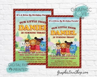 Personalized Daniel Tiger Drive By Birthday Parade Invitations, Any Age | 4x6 or 5x7, Digital File or Printed, FREE US Shipping & Envelopes