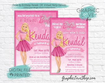 Personalized Barbie Social Distancing Drive by Parade or Virtual Birthday Invitation | 4x6 or 5x7, Digital File or Printed, FREE US Shipping