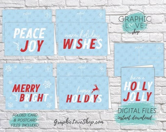 Digital Modern Retro Blue, White and Red Christmas Cards, Set of 5, Folded & Postcard Included | PDF, Instant Download, Ready to Print