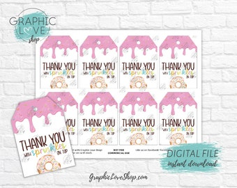 Digital Sprinkles Donut Printable Thank You Favor Tags | High Resolution 300dpi JPG File, Instant Download, Ready to Print