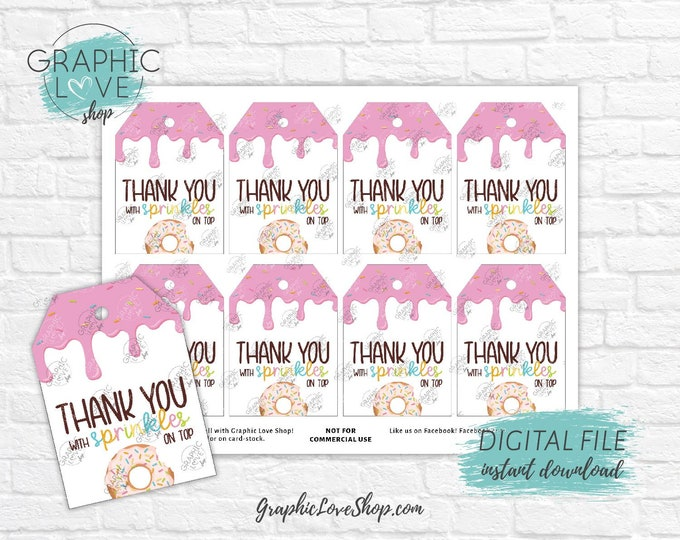 Featured listing image: Digital Sprinkles Donut Printable Thank You Favor Tags | High Resolution 300dpi JPG File, Instant Download, Ready to Print