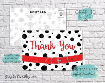 Digital 4x6 Dalmatian Red Collar Thank You Card, Folded & Postcard Included | High Resolution JPG File, Instant Download, Ready to Print