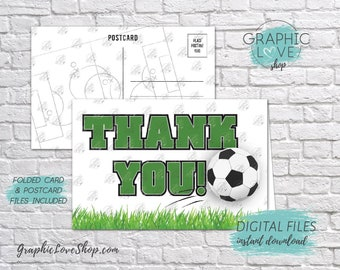 Digital 4x6 Soccer Ball Thank You, Folded Card & Postcard Included | High Resolution 300dpi JPG Files, Instant Download, Ready to Print