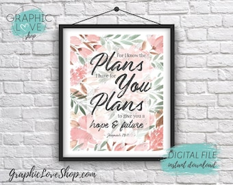 Digital 8x10 Plan for Hope and Future, Jeremiah 29:11 Scripture Art Print | High Resolution JPG File, Instant Download, Ready to Print