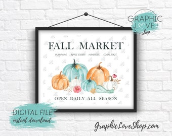 Digital File 8x10 Fall Market Watercolor Pumpkins Gourd and Leaves Art Print | High Resolution 300dpi JPG, Instant Download Ready to Print