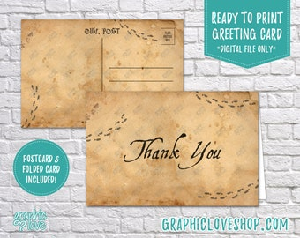 Digital 4x6 Magic Wizard Post Parchment Texture Thank You Card, Folded & Postcard | High Res JPG Files, Instant Download, Ready to Print