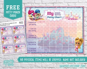 Digital Shimmer and Shine Nick Jr Potty Training Chart, FREE Punch Cards| High Res JPG Files, Instant download, NOT Editable, Ready to Print
