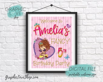 Digital 8x10 Fancy Nancy Clancy Pink Gold Personalized Birthday Party Welcome Sign | Printable High Resolution JPG File, Made To Order