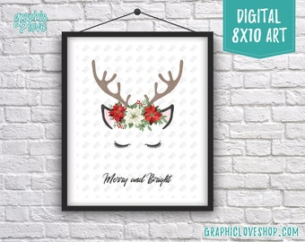 Printable 8x10 Modern Reindeer Poinsettia Merry & Bright Holiday Digital Art Print | High Res JPG File Instant Download, Ready to Print