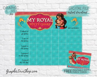 Digital Princess Elena of Avalor Potty Training Chart, FREE Punch Cards | High Res JPG Files, Instant download, NOT Editable, Ready to Print