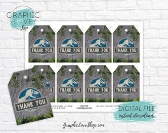 Digital File Jurassic World Trex Dinosaur Birthday Printable Thank You Tags | High Resolution JPG, Instant Download Ready to Print