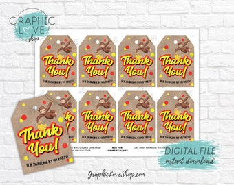 Digital Cute Curious George Monkey Red Yellow Printable Birthday Thank You Tags | High Resolution JPG File, Instant Download, Ready to Print
