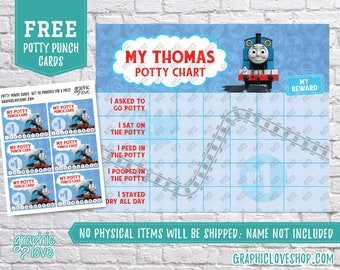 Digital Thomas the Train Potty Training Chart, FREE Punch Cards | High Resolution JPG Files, Instant download, NOT Editable, Ready to Print