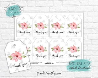 Digital Pink Flower Wedding, Birthday, Baby Shower Printable Thank You Tag | High Resolution JPG File, Instant Download, Ready to Print