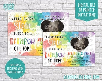 Personalized Watercolor Rainbow of Hope Baby Shower Invitation with Ultrasound Photo | 4x6 or 5x7 Digital File or Printed, FREE USA Shipping