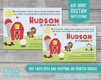Personalized Farm Animals Barnyard Birthday Invitation Gender Neutral, Any Age | 4x6 or 5x7 Digital or Printed, FREE US Shipping & Envelopes