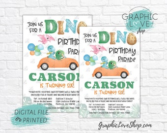 Personalized Cute Dinosaurs Dino Drive By Birthday Parade Invitation, Any Age | 4x6 or 5x7, Digital JPG File or Printed, FREE US Shipping