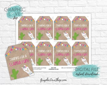 Digital Thanks for a Llama Fun Birthday Printable Thank You Favor Tags | High Resolution 300dpi JPG File, Instant Download, Ready to Print