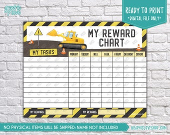 Digital Construction Printable Reward Chart with Blank Tasks | High Resolution JPG File, Instant Download NOT Editable, Ready to Print