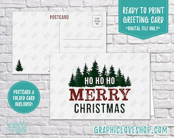 Digital 4x6 Ho Ho Ho Merry Christmas Fir Trees Card, Folded Card & Postcard included | High Res JPG Files, Instant Download, Ready to Print