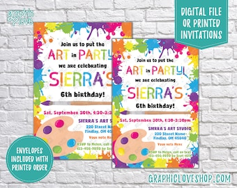 Put the Art in Party, Paint Splatter Personalized Birthday Invitation, Any Age | 4x6 or 5x7, Digital File or Printed, FREE US Shipping