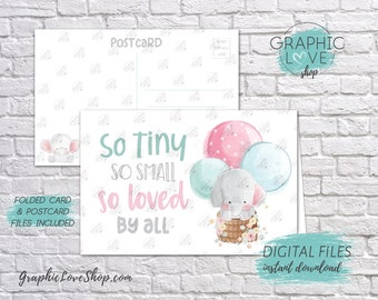 Digital 4x6 Sweet Elephant Loved By All Printable Baby Shower Card, Folded & Postcard included | JPG Files, Instant Download, Ready to Print