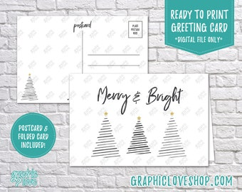 Digital 4x6 Modern Trees Merry and Bright Card, Folded & Postcard included | High Res JPG Files, Instant Download, Ready to Print
