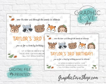 Personalized Drive By Woodland Animals Birthday Parade Invitation Fall Autumn, Any Age | 4x6 or 5x7 Digital File or Printed FREE US Shipping