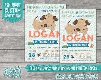 What Little Boys are Made of, Puppy Dog Personalized Birthday Invitation, Any Age | 4x6 or 5x7, Digital File or Printed, FREE US Shipping