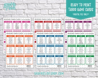 Digital Wedding, Engagement, Bridal Shower Taboo Game 54 Cards | PDF File, Instant download, NOT Editable, Ready to Print