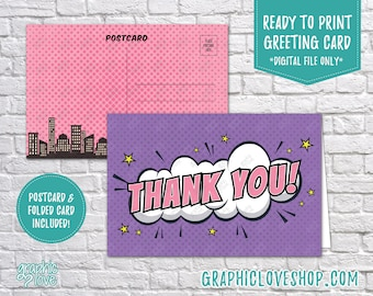 Digital 4x6 Girly Superhero Comic Style Thank You Card, Folded & Postcard Included | High Res JPG Files, Instant Download, Ready to Print