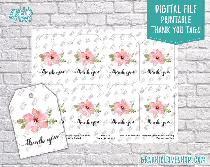 Featured listing image: Digital Pink Flower Graduation, Birthday, Baby Shower Printable Thank You Tag | High Resolution JPG File, Instant Download, Ready to Print