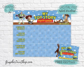 Digital Toy Story, Woody Buzz Jessie Potty Chart, FREE Punch Card | High Res JPG Files, Instant download NOT Editable, Ready to Print
