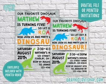 Personalized Dinosaur Birthday Invitations, Any Age | Triceratops, Brachiosaurus | 4x6 or 5x7, Digital File or Printed, FREE US Shipping