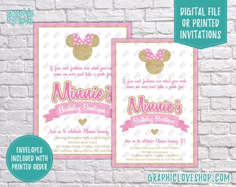 Pink and Gold Minnie Mouse Bowtique Personalized Birthday Invitations, Any Age | 4x6 or 5x7, Digital JPG File or Printed, FREE US Shipping