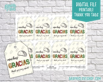 Digital Muchas Gracias, Thank You Very Much Taco Printable Favor Tags | High Resolution JPG File, Instant Download, Ready to Print
