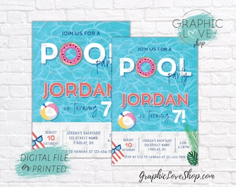 Personalized Beach Summer Swimming Pool Birthday Party Invitation for Any Age | 4x6 or 5x7, Digital JPG File or Printed, FREE US Shipping