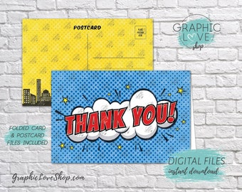 Digital 4x6 Superhero Comic Style Thank You Card, Folded & Postcard Included | High Resolution JPG Files, Instant Download, Ready to Print