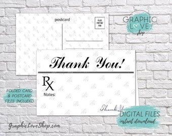 Digital 4x6 Prescription RX Doctor/Nurse Thank You Card, Folded & Postcard | High Res 300dpi JPG Files, Instant Download, Ready to Print