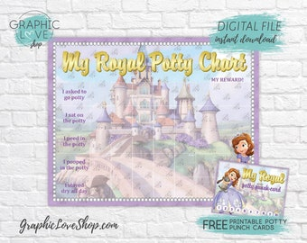 Digital Sofia the First Princess Potty Training Chart, FREE Punch Cards   High Res JPG Files, Instant download, NOT Editable, Ready to Print
