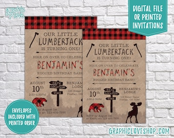 Personalized Lumberjack Rugged Birthday Invitation, Any Age | Red Buffalo Plaid Bear | 4x6 or 5x7, Digital File or Printed, FREE US Shipping