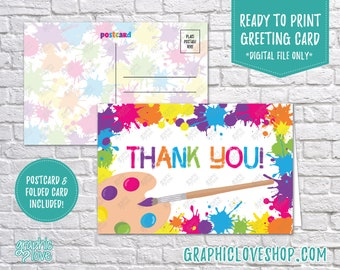 Digital 4x6 Colorful Paint Splatter Thank You Card, Folded & Postcard | High Res 300dpi JPG Files, Instant Download, Ready to Print