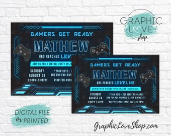 Personalized Blue Gamer Gaming Social Distancing Virtual Birthday Invitation Any Age | 4x6 or 5x7 Digital File or Printed, FREE USA Shipping