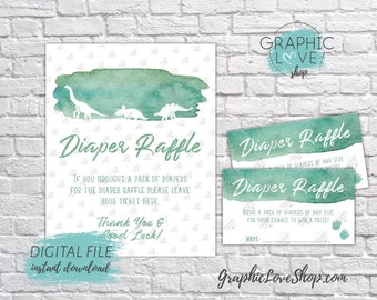 Digital Green Watercolor Dinosaur Baby Shower Diaper Raffle Sign and Cards, Coordinating | PDF File, Instant Download, Ready to Print