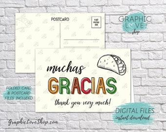 Digital 4x6 Muchas Gracias Bilingual Taco Thank You Card, Folded & Postcard | JPG Files, Instant Download, NOT Editable, Ready to Print