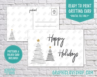 Digital 4x6 Black White Happy Holidays Modern Tree Christmas Card, Folded & Postcard included | JPG Files, Instant Download, Ready to Print