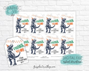 Digital File Funny Dinosaur Trex Party Hat Birthday Printable Thank You Favor Tags | High Resolution JPG, Instant Download Ready to Print