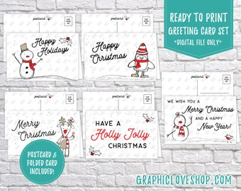 Digital Cute Doodle Red and Black Christmas Cards, Set of 5 designs, Folded & Postcard Included | PDF File, Instant Download, Ready to Print
