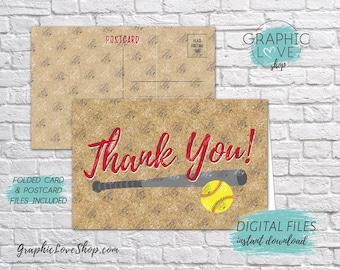 Digital 4x6 Fastpitch Softball Thank You Card, Folded & Postcard | High Res 300dpi JPG Files, Instant Download, NOT Editable, Ready to Print